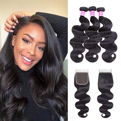 Gabrielle Body Wave (161820) Human Hair Bundles with 12Inch 4x4 Free Part Lace Closure 100% Unprocessed 3 Bundles Virgin Brazilian Weave Hair Human Bundles with Closure Nature Color 330 G (11.7 OZ)