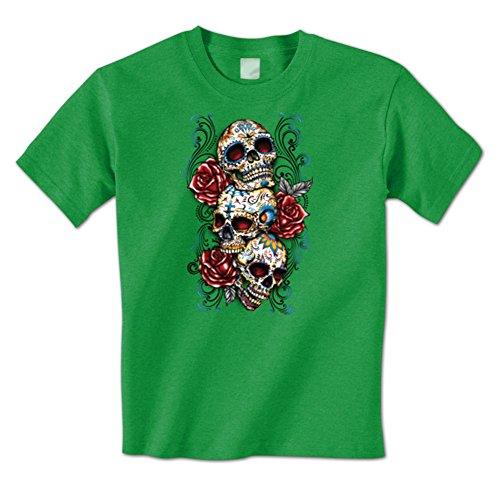 Day Of The Dead Sugar3 Skulls 3 Roses Cross Dia De Los Muertos Mens T-Shirt XXL Kelly