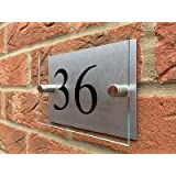 MODERN HOUSE SIGN GLASS EFFECT ACRYLIC ALUMINIUM DOOR NUMBER PLAQUE