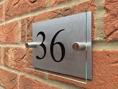 MODERN HOUSE SIGN GLASS EFFECT ACRYLIC ALUMINIUM DOOR NUMBER PLAQUE Signs4home