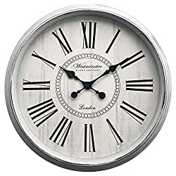 Large Round Farmhouse Wall Clock with Roman Numerals - 30 Inches (White)