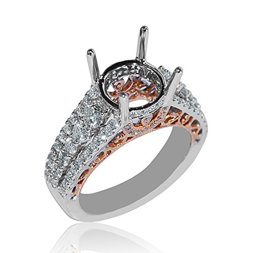 Midwest Jewellery 18K White Gold Semi Mount Ring Setting Fits 2ct Solitaire 1cttw Rose Gold Two Tone - Semi Gold White 18k Mount