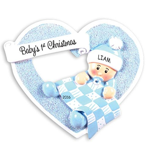 Personalized Heartily Yours Baby's First Ornament - Boy
