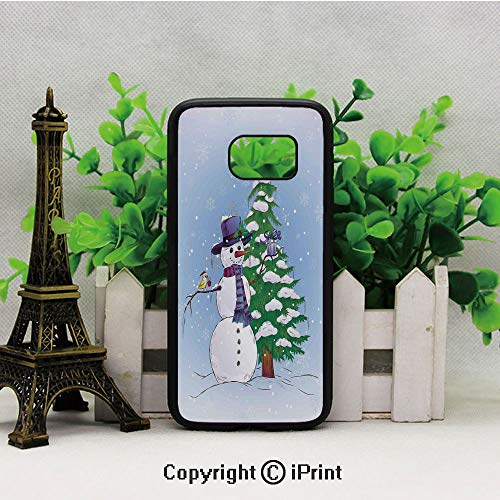 Snowman in Winter with Mistletoe Gift Top Hat and Scarf Tree and Bird Samsung Galaxy S7 Case with Artistic Black Soft TPU and PC Protection Anti-Slippery Case for Samsung S7 Blue Green ()