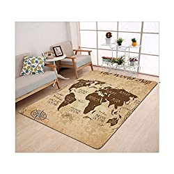 Kisscase Custom carpet Map Decorative Wall World Map Decor Ideas Oceans Continents Compass Old Globe Antiqued Design Students Gifts for Teens Boys Girls Room Brown Beige