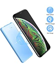 Ponsinc Power bank,portable phone charger 10000mah wireless charger with LED Display and Full Glass Panel Compatible with qi wireless charger or Dual USB Output