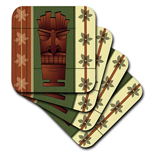 - 3dRose CST_77490_1 Wood Grain Tropical Tiki Mask Hawaiian Flowers Green and Cream Soft Coasters (Set of 4)