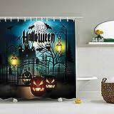 #7: Halloween Shower Curtain-ZBLX Waterproof Mildew Resistant Fabric Polyester 100% Shower Curtain.