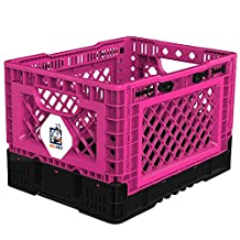 BIGANT Heavy Duty Collapsible & Stackable Plastic Milk Crate - IP403026, 6.6 Gallons, XS Size, Pink, Set of 1, Absolute Snap Lock Foldable Industrial Storage Bin Container Utility Basket