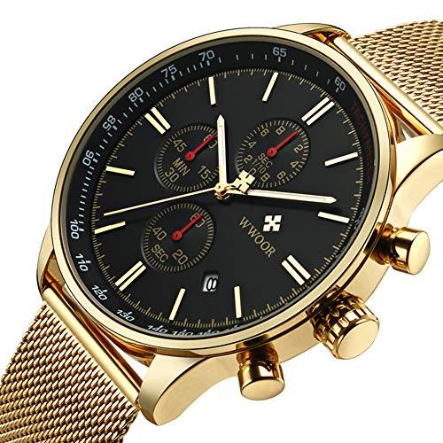 Watch Transparent Gold (WWOOR Men's Watch Sport Watch Fashion Luxury Analog Quartz Watches with Date Stainless Steel Mesh Band Waterproof Watch Casual Gift Watch Men (Gold-Black))