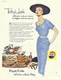 Today's Look Pepsi-Cola ad 1954 sheath dress big hat redhead