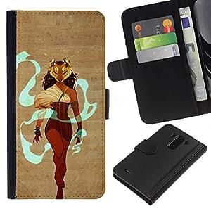 Planetar® Modelo colorido cuero carpeta tirón caso cubierta piel Holster Funda protección Para LG G3 / D855 / D850 / D851 ( Warrior Queen Heroine Maks Lion Woman )