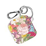 Logity Tile Mate & Tile Sport & Tile Style Case with Carabiner Keychain, Leather Skin Cover for Tile Bluetooth Tracker, Anti-Lost Design, Spring Flower