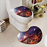 aolankaili Printed Bath Heart Shaped Foot pad Set War Apocalypse in City by Giant Meteorite Fire in Buildings End Disaster Theme Yellow 2 Piece Heart Shaped Foot pad Set