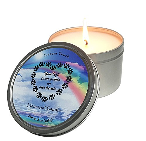 Pet Memorial Candle,Loss of Pet Candle,8 oz Paraffin-Free,Paraben Free Soy Scented Candle,Grieving a Pet Gift.Dog-Cat Remembrance Candle,You Left Paw Prints On Our Hearts,Lavender,Grapefruit,Juniper