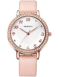 Cute Womens Pink Leather Watch Bright Rhinestone Rose Gold Romantic Arabic Numerals Watches For Girls