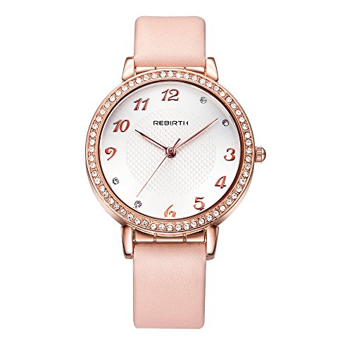 Gold Tone White Dial - Bosymart Women's Rose Gold-Tone Crystal White Dial Analog Quartz Leather Strap Watch