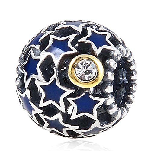 Night Sky Charm 925 Sterling Silver Star Moon Charm with Blue Enamel Hollow Charm for DIY Charms Bracelet