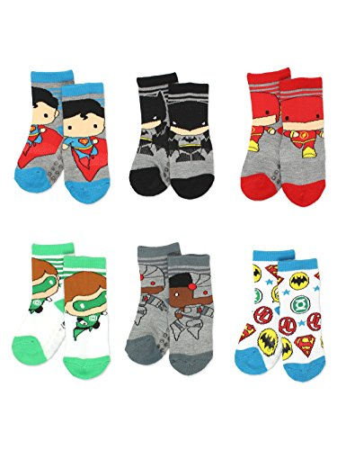 Justice League Boy's 6 pack Socks with Grippers (4T-5T, -