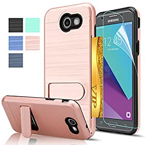 J3 Emerge Case, Galaxy J3 Prime / J3 Mission / J3 Eclipse / J3 Luna Pro/Amp Prime 2 with HD Screen Protector,AnoKe[Card Slots Holder]Kickstand Plastic TPU Case for Galaxy J3 2017 KC1 Rose Gold