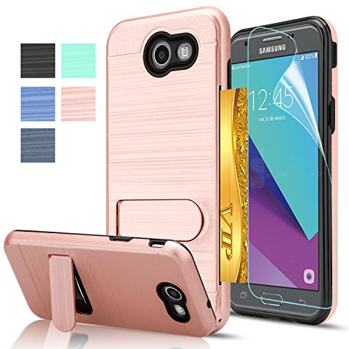 AnoKe J3 Emerge Case, Galaxy J3 Prime/J3 Mission/J3 Eclipse/J3 Luna Pro/Amp Prime 2 Case with HD Screen Protector, [Card Slots Holder] Kickstand Plastic TPU Case for Galaxy J3 2017 KC1 Rose Gold