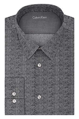 Calvin Klein Men's Stretch Xtreme Slim Fit Herringbone Print Point Collar Dress Shirt, Black Pepper, 17