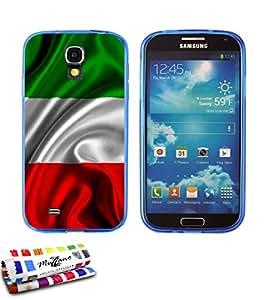 Carcasa Flexible Ultra-Slim SAMSUNG I9500 / GALAXY S4 de exclusivo motivo [Bandera italia] [Azul] de MUZZANO  + ESTILETE y PAÑO MUZZANO REGALADOS - La Protección Antigolpes ULTIMA, ELEGANTE Y DURADERA para su SAMSUNG I9500 / GALAXY S4