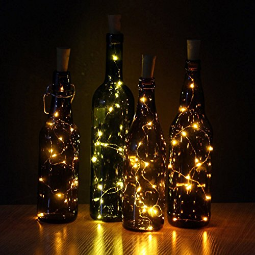 6 Pack 20-LEDS Spark Wine Bottle Light, Cork Shape Battery Copper Wire String Lights for Bottle DIY, Christmas, Wedding and Party Décor (Warm White)