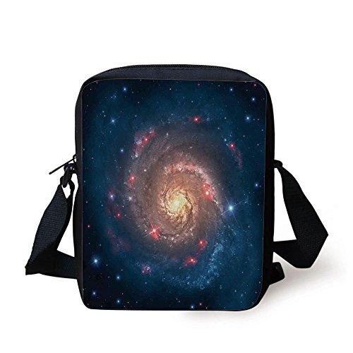 - IPrint Outer Space,Mystical Spiral Galaxy Expanse beyond Milky Way Planet Astral Space Art,Petrol Blue Peach Print Kids Crossbody Messenger Bag Purse
