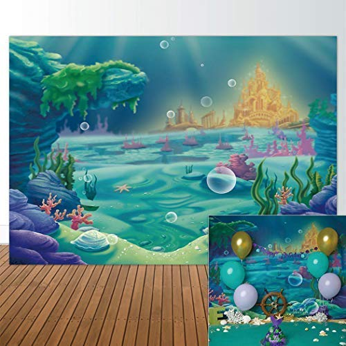 Allenjoy 7x5ft Fabric Backdrop Under The Sea Little Mermaid Ocean Nautical Birthday Party Banner Photo Studio Booth Photography Background Newborn Baby Shower Photocall -