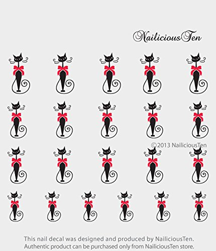 NAILICIOUS TEN Stylish Cat with Red Bow Nail Art Water Transfer Decal 21pcs by NailiciousTen - ST8032