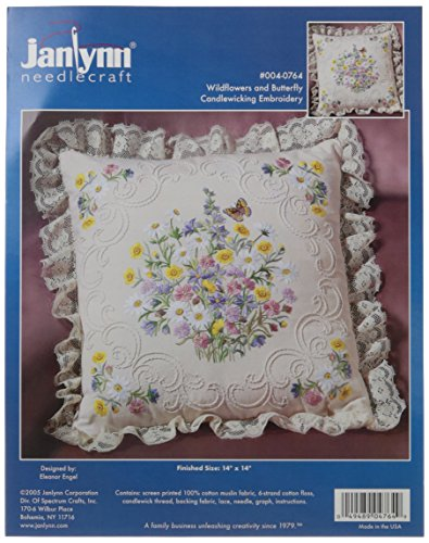 - Janlynn Candle Wicking Embroidery Kit, Wildflowers and Butterfly Pillow