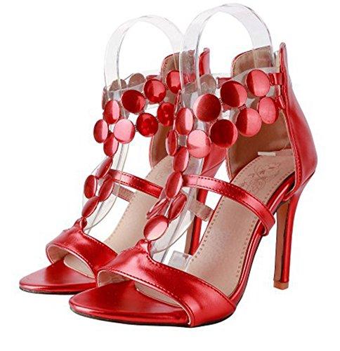 Sandalo Tacco A Spillo Con Tacco A Spillo Da Donna Sexy Easemax Top A Metà Sopra I Sandali Con Zip Blu