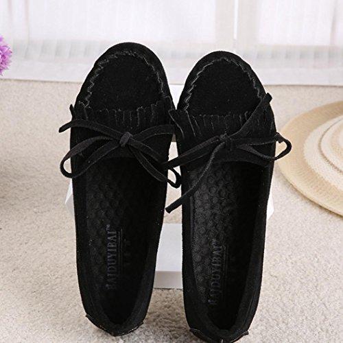 Ama (tm) Suede Flats Dames Instappers Loafers Zacht Rijdende Loopschoenen Zwart