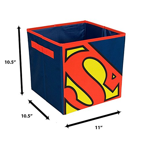 Everything Mary Superman Collapsible Storage Bin by DC Comics - Cube Organizer for Closet, Kids Bedroom Box, Playroom Chest - Foldable Home Decor Basket Container with Strong Handles and Design by Everything Mary (Image #4)