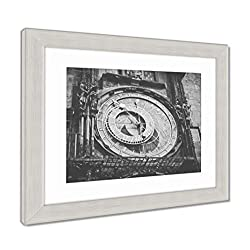 Ashley Framed Prints Square and Astronomical Clock, Wall Art Home Decoration, Black/White, 34x40 (Frame Size), Silver Frame, AG5574748