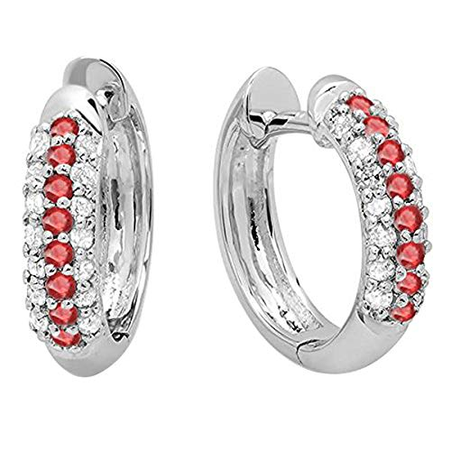 Dazzlingrock Collection 10K Round Ruby & White Diamond Pave Set Huggies Hoop Earrings, White Gold