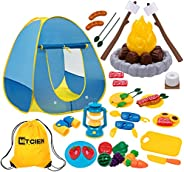 MITCIEN Kids Camping Play Tent with Toy Campfire / Marshmellow /Fruits Toys Play Tent Set for Boys Girls Indoo