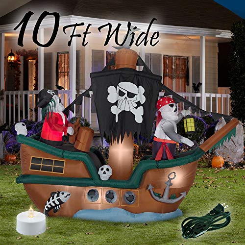 Booyard Halloween Inflatables Outdoor Decorations Skeleton Pirate Ship - 10ft Wide Decorations