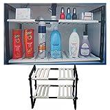 2 Tier Expandable Adjustable Under Sink Shelf Organizer Unit Kitchen Shelves New