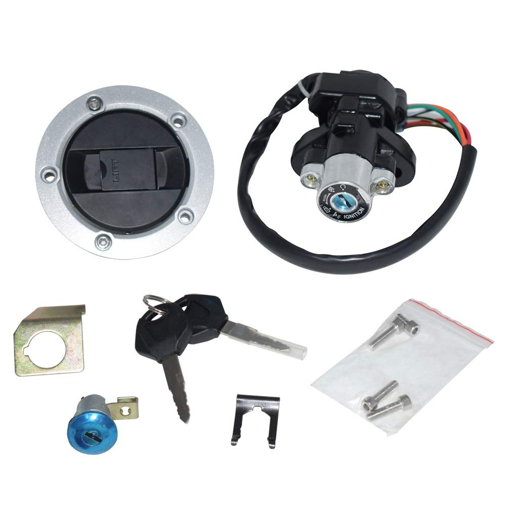 CONGCASE for Suzuki GSXR 600 750 GSXR600 GSXR750 Motorcycle Ignition Switch Assembly Fuel Tank Cover Lock Gas Cap Engine Hook Locking Key (Color : Silver)