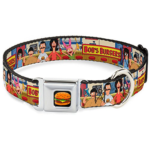 Buckle-Down Seatbelt Buckle Dog Collar - BOB'S BURGERS Belcher Family Group Pose at Restaurant Counter Tans - 1