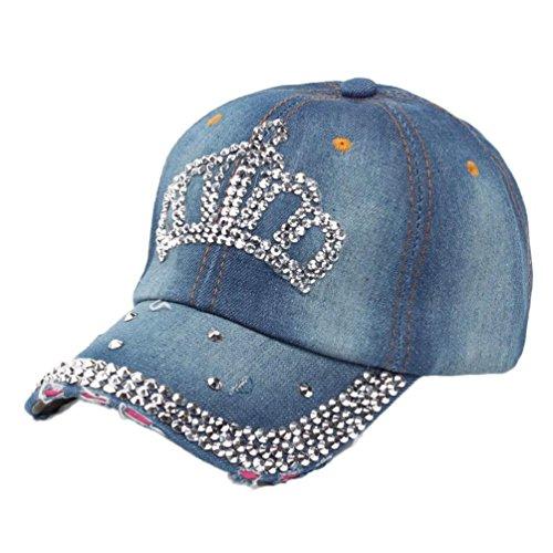 [Winhurn 2016 High Quality Hip-Hop Baseball Cap Full Diamond Crown Flat Snapback Hat (Blue B)] (Hip Hop Felt Hat With Feather)