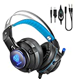 IVSO Gaming headset for Xbox one X and PS4, Surround Stereo Over-Ear Headphone Self-Adjustable Headband Soft Comfy Earmuffs with Mic LED Lights for PS4 Nintendo Switch Laptop PC Tablet Smartphones
