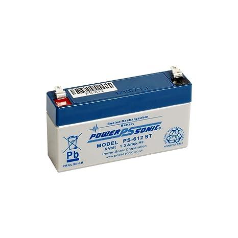 De Sonic ps612 Batería de 6 V, 1,3 Ah, AGM apto para ...