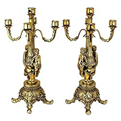 ChachaIn Set Classical Greek Inspired Ornate Antique Gold Maidens Clock Candelabra