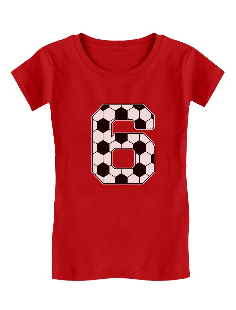 Soccer 6th Birthday Gift for 6 Year Old Toddler/Kids Girls' Fitted T-Shirt