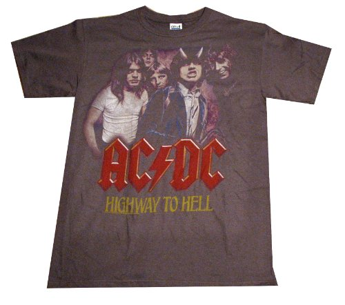 FEA Men's ACDC Vintaged Highway To Hell T-Shirt, Charcoal, Small