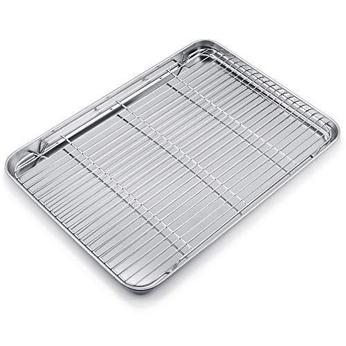 WEZVIX Large Baking Sheet with cooling rack Stainless Steel Baking Tray Cookie Sheet Oven Tray Pan 19.6 × 13.5 × 1.2 inches, Rust Free & Less Stick, Easy Clean & Dishwasher Safe