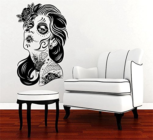 YINGKAI Happy Halloween Skull Girl Face Tattoo Hair Makeup Salon Studio Zombie Fashion Living Room Vinyl Carving Wall Decal Sticker for Halloween Party Home Window Decoration]()